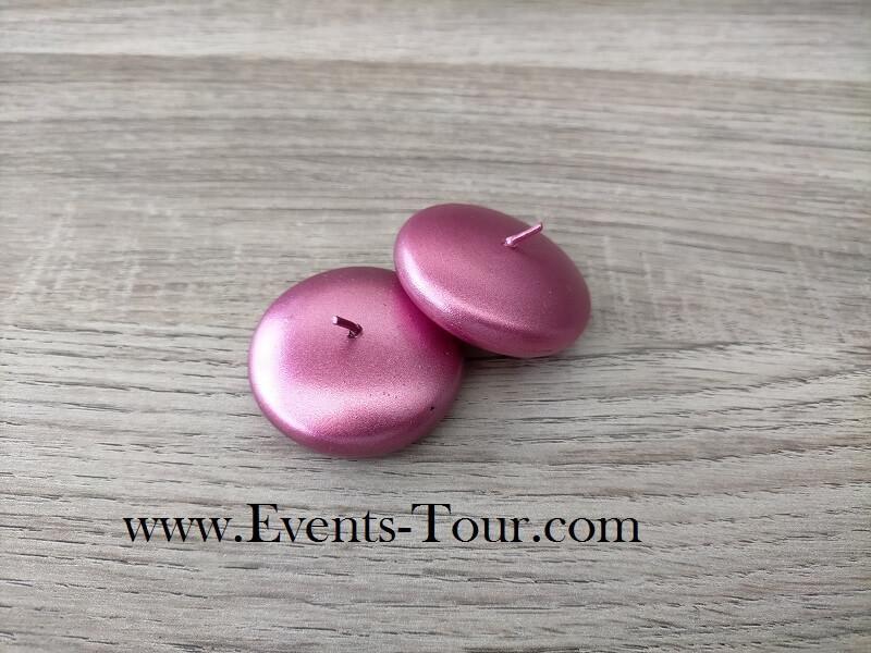 Bougie flottante metallique rose fuchsia pour vase