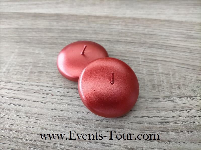 Bougie flottante metallique rouge pour vase