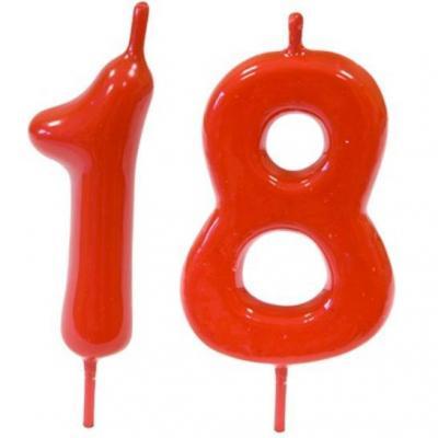 Pack bougie rouge chiffre 18 sur pique pour décoration gâteau anniversaire REF/BGA1100