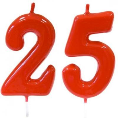 Pack bougie rouge chiffre 25 sur pique pour décoration gâteau anniversaire REF/BGA1100
