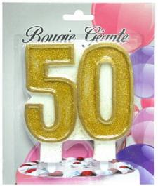 Bougie géante or, chiffre 50 (x1) REF/BBG50
