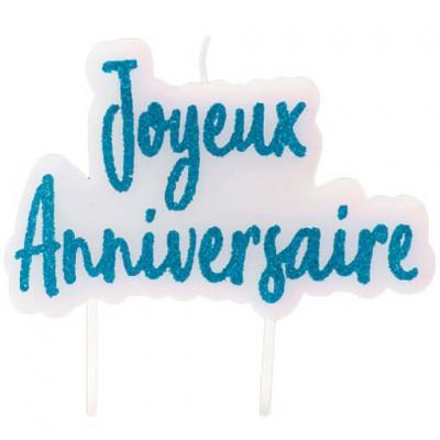 Bougie pailletée joyeux anniversaire bleu turquoise (x1) REF/BGA1012