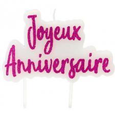Bougie pailletée joyeux anniversaire rose fuchsia (x1) REF/BGA1012