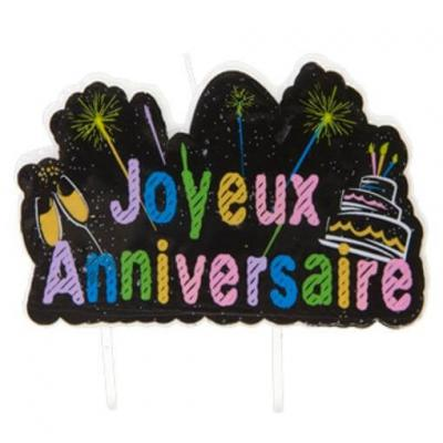 Bougie joyeux anniversaire multicolore chic (x1) REF/AA2024CH