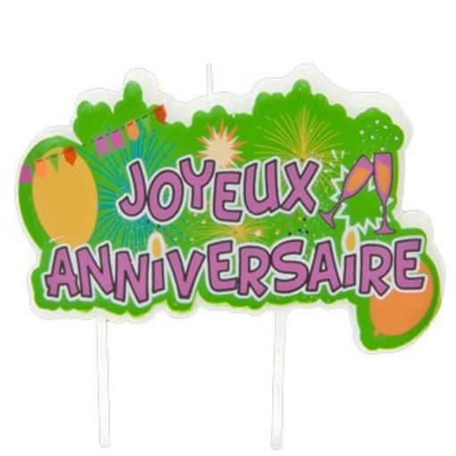 Bougie joyeux anniversaire multicolore pop