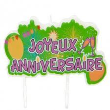 Bougie joyeux anniversaire multicolore POP (x1) REF/AA1024PP