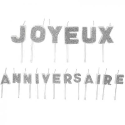 Bougie joyeux anniversaire pailletée argent (x1) REF/BGA1011
