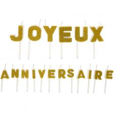 Bougie joyeux anniversaire pailletée or (x1) REF/BGA1011