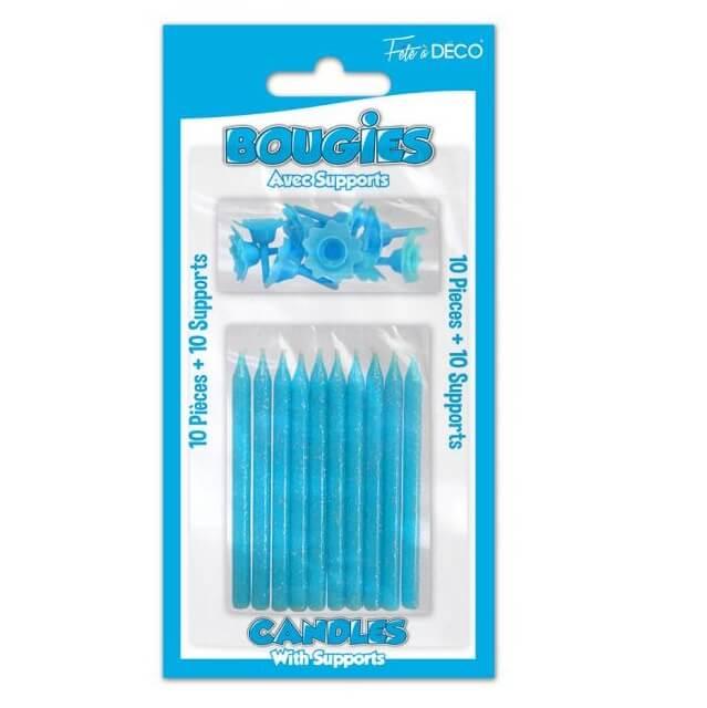 Bougie pailletee bleu avec supports