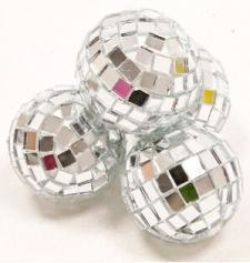 Boule à facettes disco argent, 3.5cm (x4) REF/DEC366