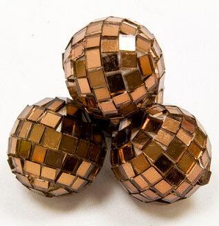 Boule à facettes disco marron, 3.5cm (x4) REF/DEC366