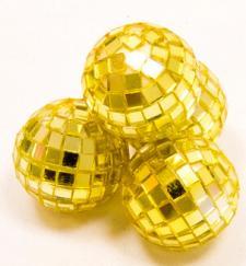Boule à facettes disco or, 3.5cm (x4) REF/DEC366