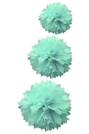 Boule bleu jade pompon