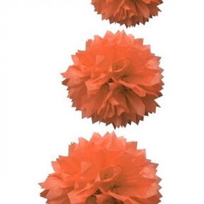 Boule corail pompon (x3) REF/DEC590