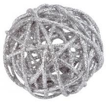 Assortiment boule de rotin pailleté argent (x10) REF/3625