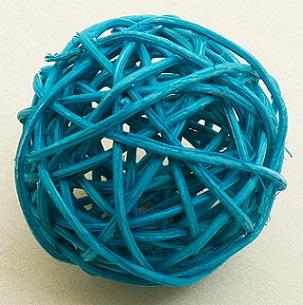 Boule en osier bleu turquoise 6cm