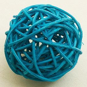 Boule en osier bleu turquoise, 3.5cm (x6) REF/DEC414