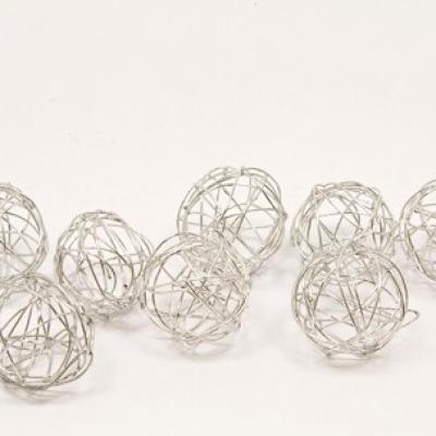 Décoration boule de rotin métallique argent de 2cm (x12) REF/DEC476