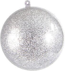 Boule pailletée argent 8cm (x1) REF/3628