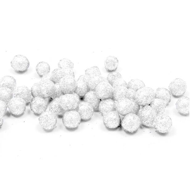 Boule pailletee blanche 8mm