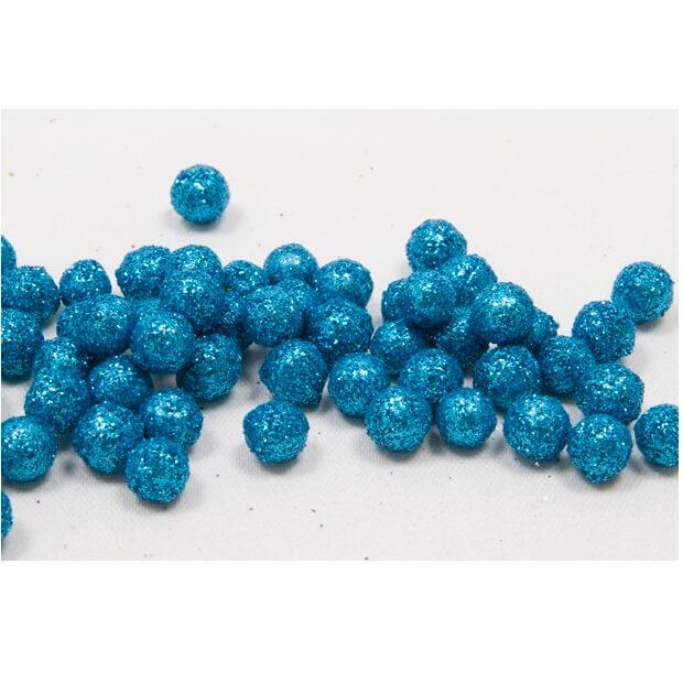 Boule pailletee bleu turquoise 8mm
