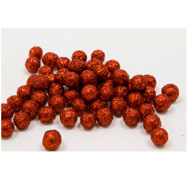 Boule pailletee rouge 8mm