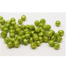 Boule pailletée verte, 0.8cm (x10grs) REF/ADT027