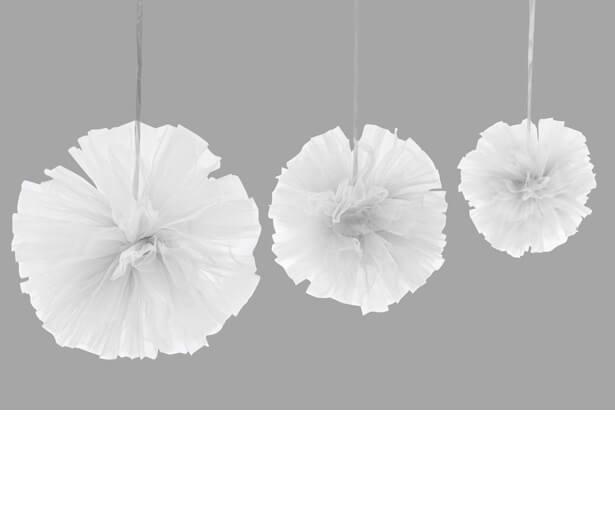 Boule pompon tulle blanc