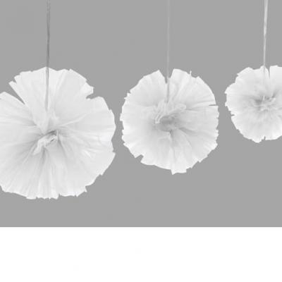 Boule pompon tulle blanc (x3) REF/DEC808