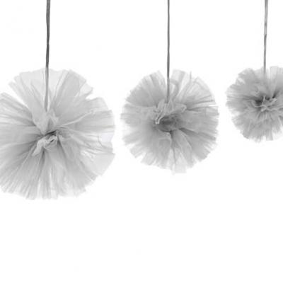 Boule pompon tulle gris (x3) REF/DEC808