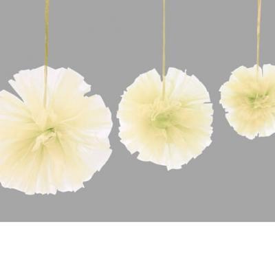 Boule pompon tulle ivoire (x3) REF/DEC808