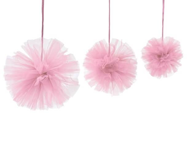 Boule pompon tulle rose