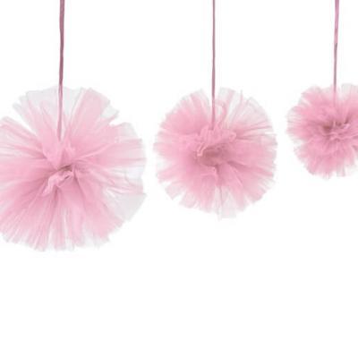 Boule pompon tulle rose (x3) REF/DEC808