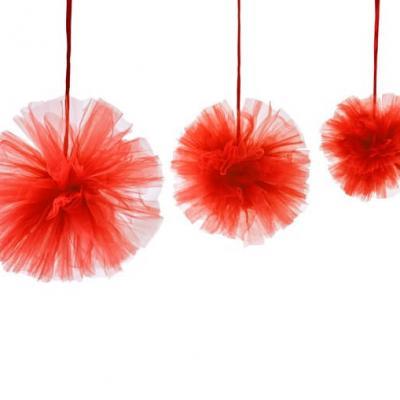 Boule pompon tulle rouge (x3) REF/DEC808