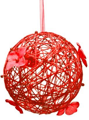 Boule rouge avec fleur