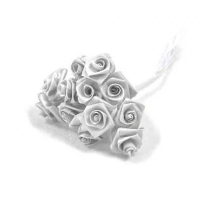 1 Bouquet décoratif blanc en tissu avec 48 mini roses sur tige REF/FL680