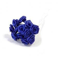 1 Bouquet décoratif bleu royal en tissu avec 48 mini roses sur tige REF/FL680