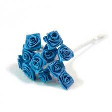 1 Bouquet décoratif bleu turquoise en tissu avec 48 mini roses sur tige REF/FL680