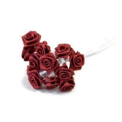 1 Bouquet décoratif bordeaux en tissu avec 48 mini roses sur tige REF/FL680