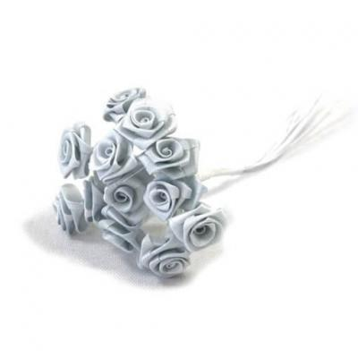 1 Bouquet décoratif gris en tissu avec 48 mini roses sur tige REF/FL680