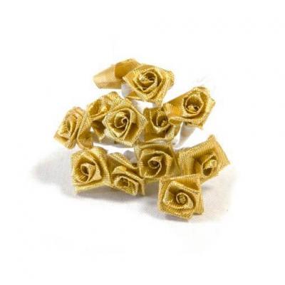 1 Bouquet décoratif or en tissu avec 36 mini roses sur tige REF/FL681
