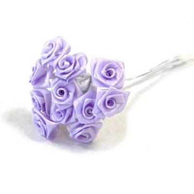 1 Bouquet décoratif parme en tissu avec 48 mini roses sur tige REF/FL680