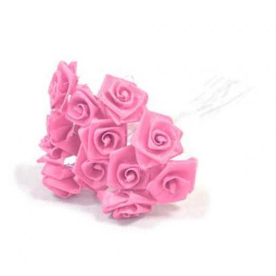 1 Bouquet décoratif rose en tissu avec 48 mini roses sur tige REF/FL680