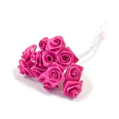 1 Bouquet décoratif rose fuchsia en tissu avec 48 mini roses sur tige REF/FL680