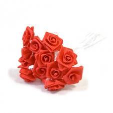 1 Bouquet décoratif rouge en tissu avec 48 mini roses sur tige REF/FL680
