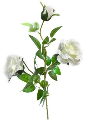Branche de rose blanche 75cm