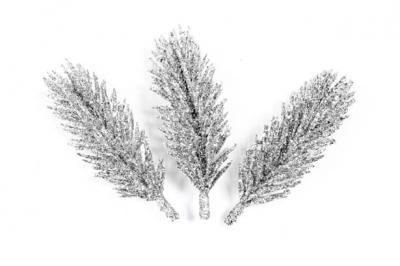 Branche sapin pailletée argent (x3) REF/DEC792