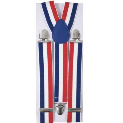 Bretelles pour supporters France tricolore bleu, blanc et rouge (x1) REF/56010
