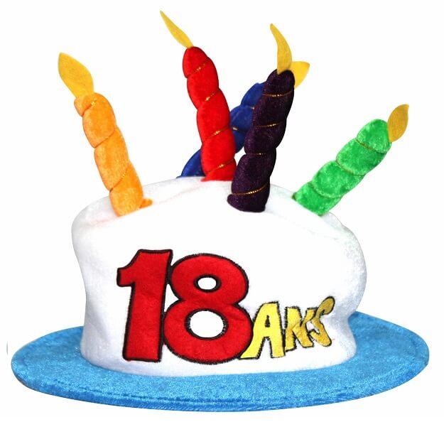 Cadeau adulte chapeau anniversaire 18ans multicolore