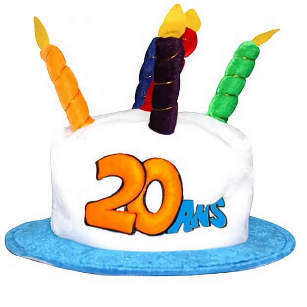 Cadeau adulte chapeau anniversaire 20ans multicolore